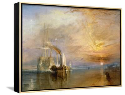 """The """"Fighting Temeraire"""" Tugged to Her Last Berth to be Broken Up, Before 1839-J^ M^ W^ Turner-Framed Canvas Print"""