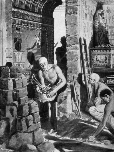 The Final Interior Decoration and Sealing of Tutankhamun's Tomb, Egypt, 1325 BC-Fortunino Matania-Giclee Print