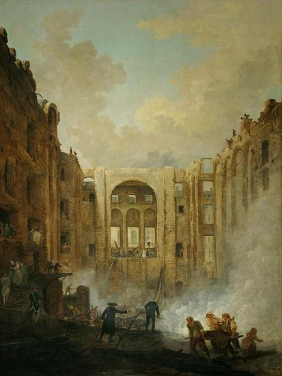 The fire at the operahouse in the Palais Royal,1781-Hubert Robert-Giclee Print