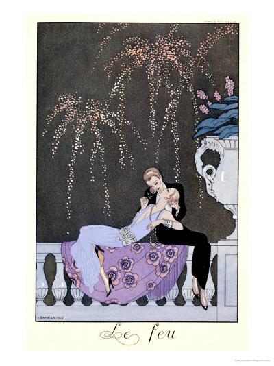 """The Fire, Illustration for """"Fetes Galantes"""" by Paul Verlaine 1924-Georges Barbier-Giclee Print"""