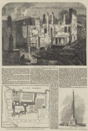 The Fire in the Strand, Site of Arundel House--Giclee Print