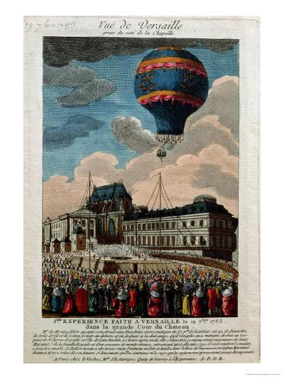 The First Ballooning Experiment at the Chateau De Versailles, 19th September, 1783--Giclee Print