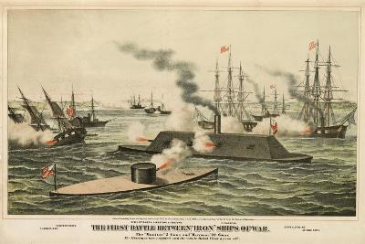 The First Battle Between 'Iron' Ships of War, Published C.1862-Henry Bill-Giclee Print