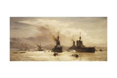 The First Battle Squadron Leaving the Forth for the Battle of Jutland, 1917-William Lionel Wyllie-Giclee Print