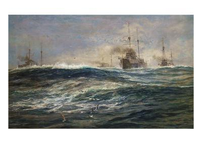 The First Battle Squadron of Dreadnoughts Steaming down the Channel-William Lionel Wyllie-Giclee Print