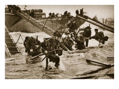 The First British Troops Disembark from the Specially Designed Landing Ladders-English Photographer-Giclee Print