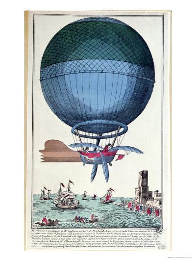 The First Channel Crossing by Air of Jean Pierre Francois Blanchard--Giclee Print