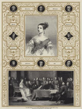 The First Council of Her Majesty the Queen, Kensington Palace, 20 June 1837-Richard James Lane-Framed Giclee Print