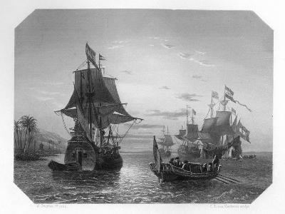 The First Dutch Ship in East Indies, 1596-Van Kesteren-Giclee Print