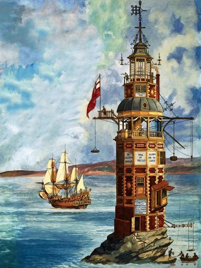 The First Eddystone Lighthouse-Peter Jackson-Giclee Print
