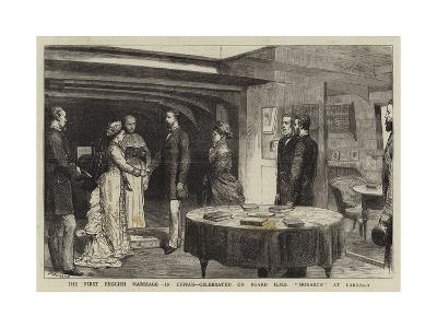 The First English Marriage in Cyprus, Celebrated on Board HMS Monarch at Larnaka-Godefroy Durand-Giclee Print
