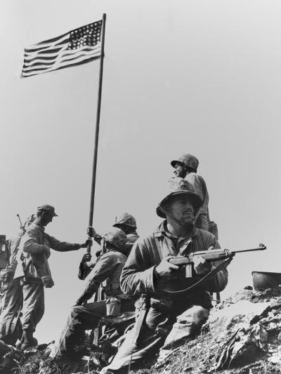 The First Flag Raising on Iwo Jima's Mount Suribachi--Photo