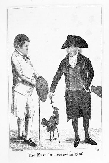 The First Interview in 1786' Between Deacon Brodie and George Smith, 1788-John Kay-Giclee Print