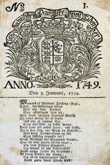 The First Issue of the Danish Newspaper Berlingske Aftenavis, January 3, 1749, Denmark--Giclee Print