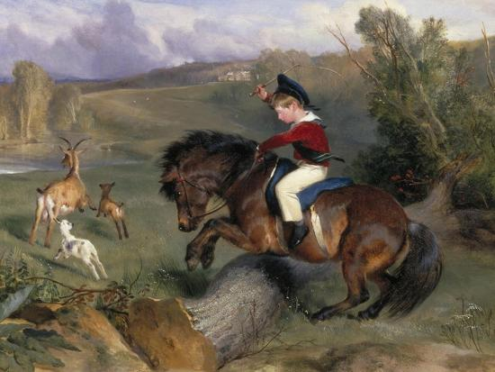 The First Leap: Lord Alexander Russell on His Pony 'Emerald', 1829-Edwin Henry Landseer-Giclee Print