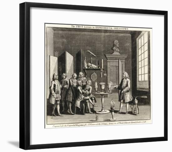 The First Lecture in Experimental Philosophy' a Chemist Demonstrates His Work to Colleagues--Framed Giclee Print