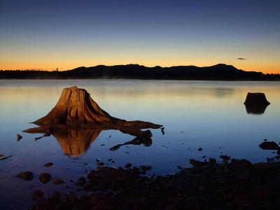 The First Light of Dawn Silhouettes the Katahdin Range East of Chesuncook Lake--Photographic Print