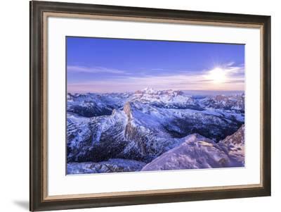 The first light of day meet the full moon,Mount Lagazuoi,Cortina d'Ampezzo,Belluno district, Veneto-Filippo Manaigo-Framed Photographic Print