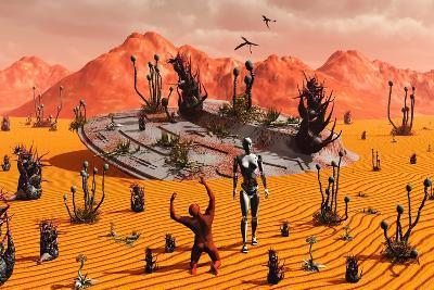 The First Man, Adam, Greeting an Alien Robotic Eve--Art Print