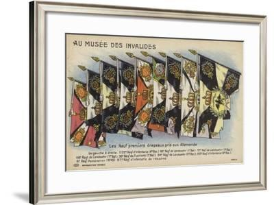 The First Nine German Flags Taken to Les Invalides--Framed Giclee Print