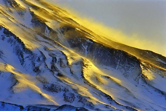 The First Rays of Sunrise Shine on Snow-Covered Slopes of Mount Damavand-Babak Tafreshi-Photographic Print