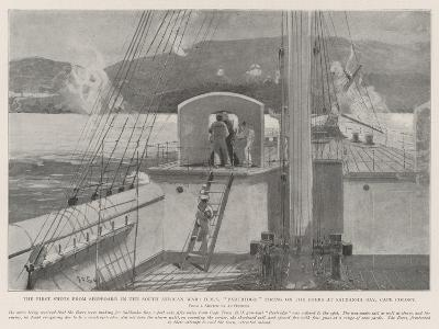 The First Shots from Shipboard in the South African War-Henry Charles Seppings Wright-Giclee Print