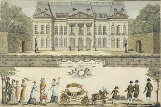 The First Steps of the King of Rome at the Chateau of Meudon, 19th Century--Giclee Print