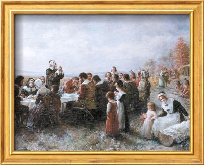 The First Thanksgiving-Jean Leon Gerome Ferris-Framed Textured Art