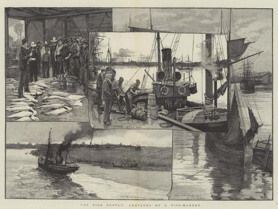 The Fish Supply, Sketches of a Fish-Market--Giclee Print