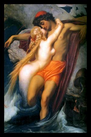 """The Fisherman and the Syren by Frederic Leighton-Canvas Print Wall Art-24/"""" x 16/"""""""