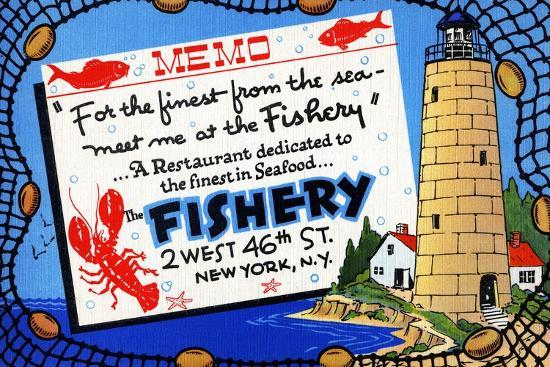 The Fishery-Curt Teich & Company-Art Print