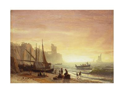 The Fishing Fleet-Albert Bierstadt-Giclee Print