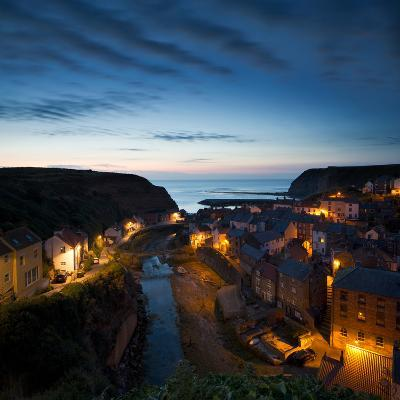The Fishing Village of Staithes on the Yorkshire Coast, Just before Dawn-John Potter-Photographic Print