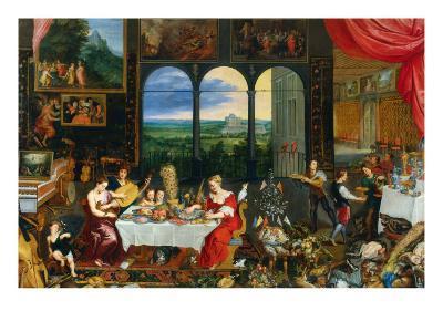 The Five Senses: Taste, Hearing and Touch-Jan Brueghel the Elder-Giclee Print