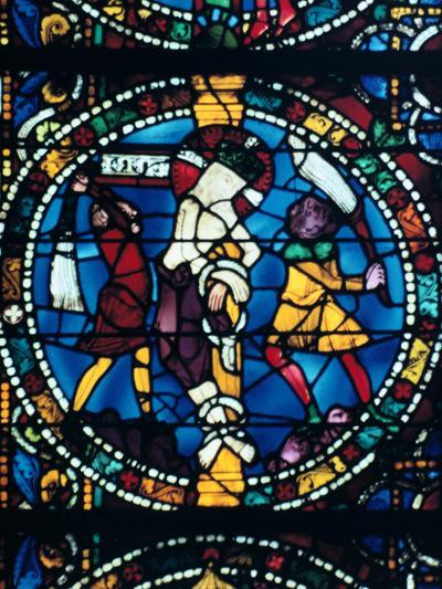 The Flagellation, Stained Glass, Chartres Cathedral, France, 1194-1260--Photographic Print