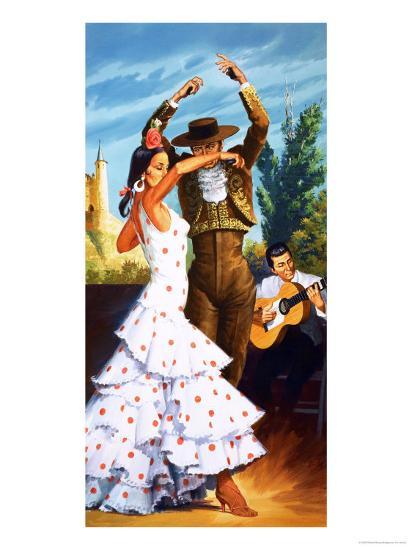 The Flamenco from Spain-Robert Brook-Giclee Print