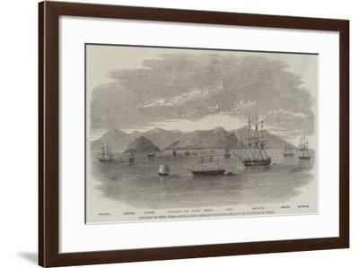 The Fleet in China under Admiral Jones Assembled Off Kintang Prior to the Occupation of Chusan--Framed Giclee Print