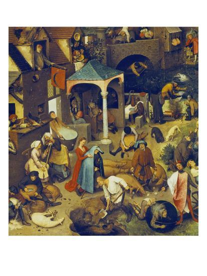 The Flemish Proverbs. (Detail of the Lower Centre)-Pieter Bruegel the Elder-Giclee Print