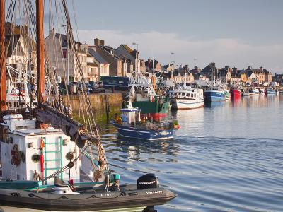The Fleur de Lampaul and Small Boat in Harbour at Saint Vaast La Hougue, Cotentin Peninsula, France-Julian Elliott-Photographic Print