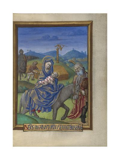 The Flight into Egypt from a Book of Hours Ms. 48 fol. 67, c.1480-90-Georges Trubert-Giclee Print
