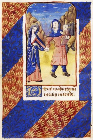 The Flight into Egypt, Miniature on Vellum from a Book of Hours, Latin Manuscript from Lisieux--Giclee Print