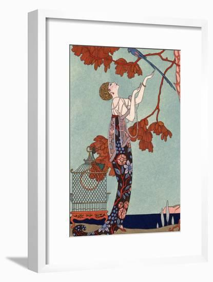 The Flighty Bird, France, Early 20th Century-Georges Barbier-Framed Premium Giclee Print