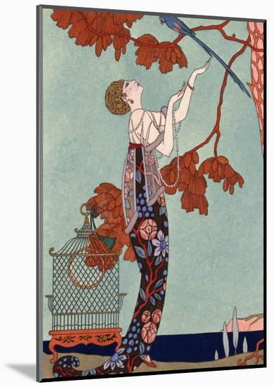 The Flighty Bird, France, Early 20th Century-Georges Barbier-Mounted Giclee Print