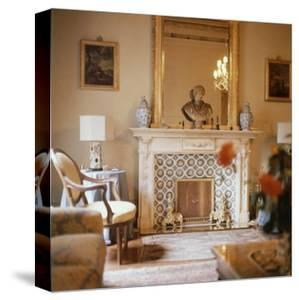 The Florentine Sitting Room of Marchesa Christina Pucci with Tiled Fireplace