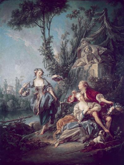 The Flower Gatherers-Francois Boucher-Giclee Print
