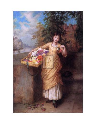 The Flower Seller-Augustus Mulready-Art Print