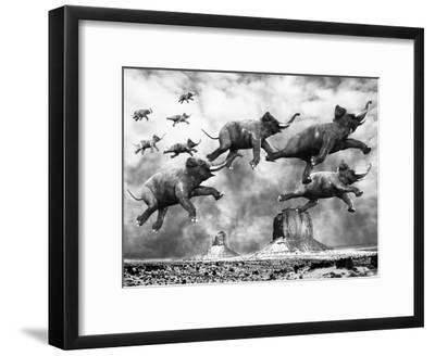 The Flying Elephants--Framed Art Print