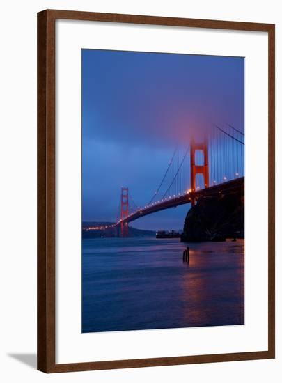 The Fog-Covered Golden Gate Bridge at Dawn from Horseshoe Bay in San Francisco, California-Krista Rossow-Framed Photographic Print