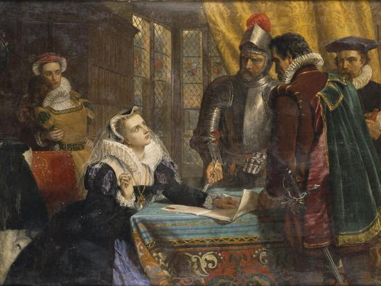 The Forced Abdication of Mary, Queen of Scots (1542- 1587), at Lochleven Castle, 25th July 1567-Charles Lucy-Giclee Print
