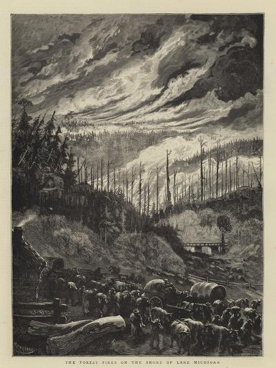 The Forest Fires on the Shore of Lake Michigan-Charles Auguste Loye-Giclee Print